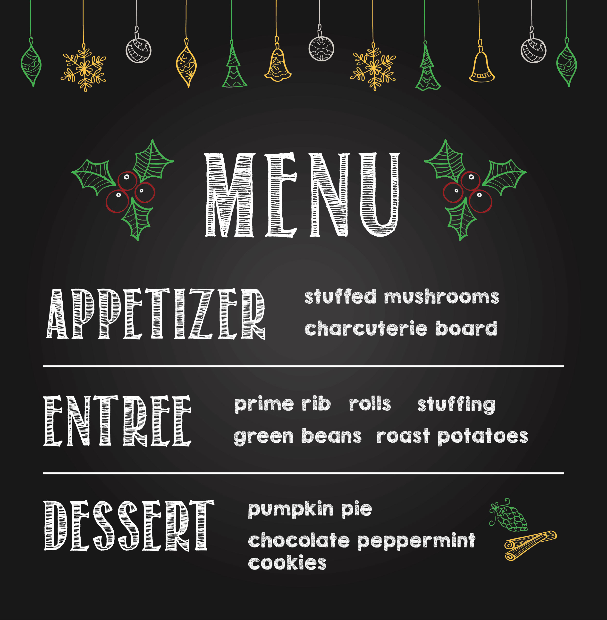 Illustration of chalkboard menu with appetizer, entree and dessert items listed.